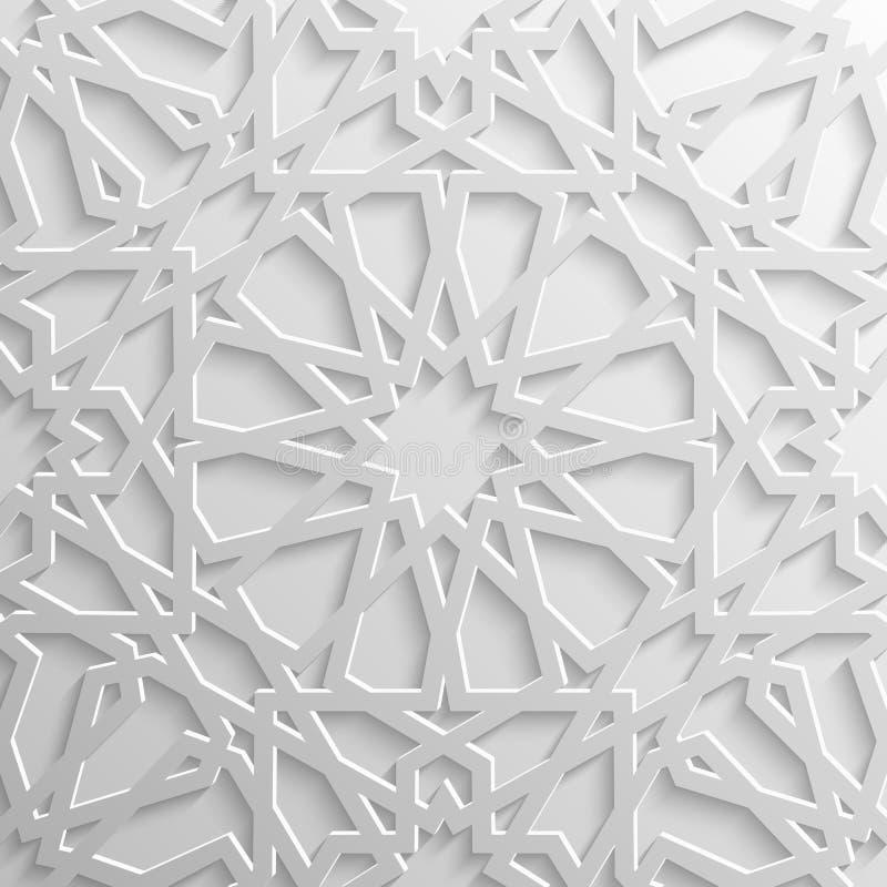 Teste padrão islâmico sem emenda 3d Elemento árabe tradicional do projeto ilustração royalty free