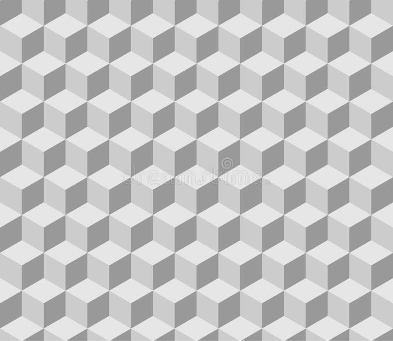 Teste padrão isométrico cinzento tilable sem emenda do cubo ilustração stock