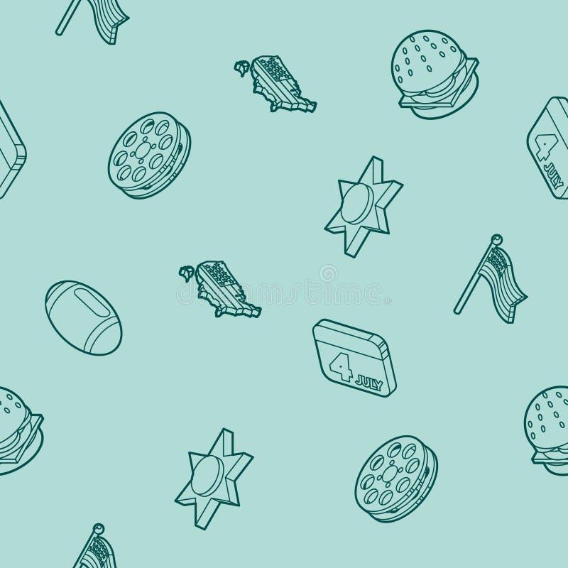 Teste padrão isométrico do esboço de América ilustração royalty free