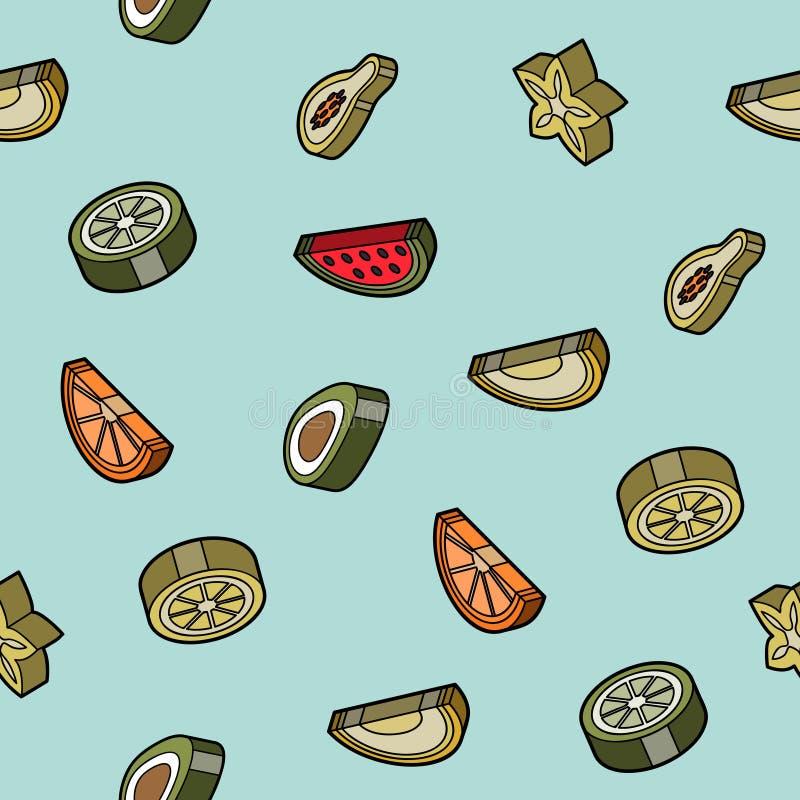 Teste padrão isométrico do esboço liso do fruto ilustração stock