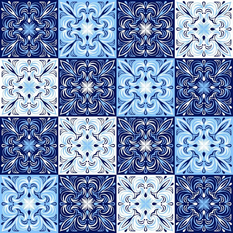 Teste padrão italiano do azulejo Ornamento popular étnico ilustração stock