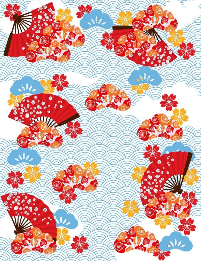 Teste padrão japonês da lagoa ilustração do vetor