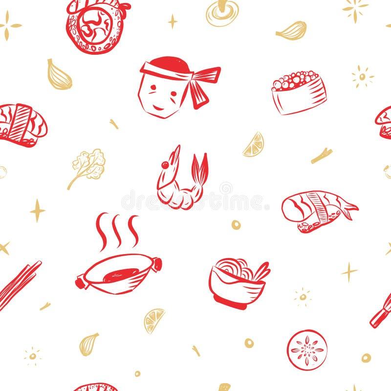 TESTE PADRÃO JAPONÊS do SUSHI do ALIMENTO com rolos e camarão Fundo vermelho do esboço da garatuja ilustração do vetor