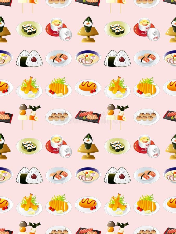 Teste Padrão Japonês Sem Emenda Do Alimento Imagens de Stock