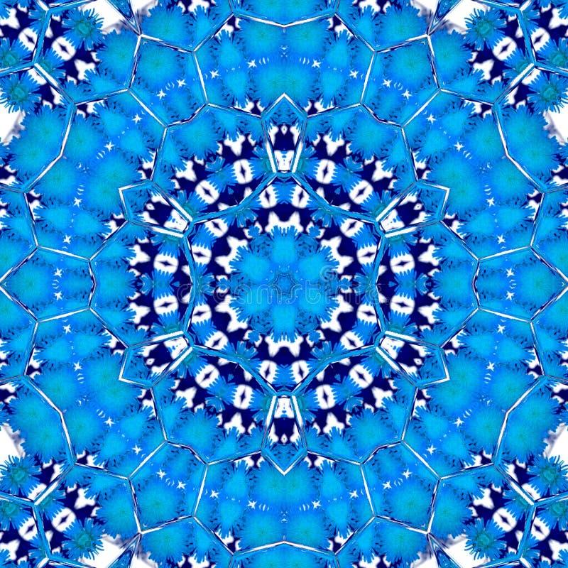 Teste padrão laçado ornamentado do caleidoscópio do guardanapo do porto azul branco ilustração royalty free