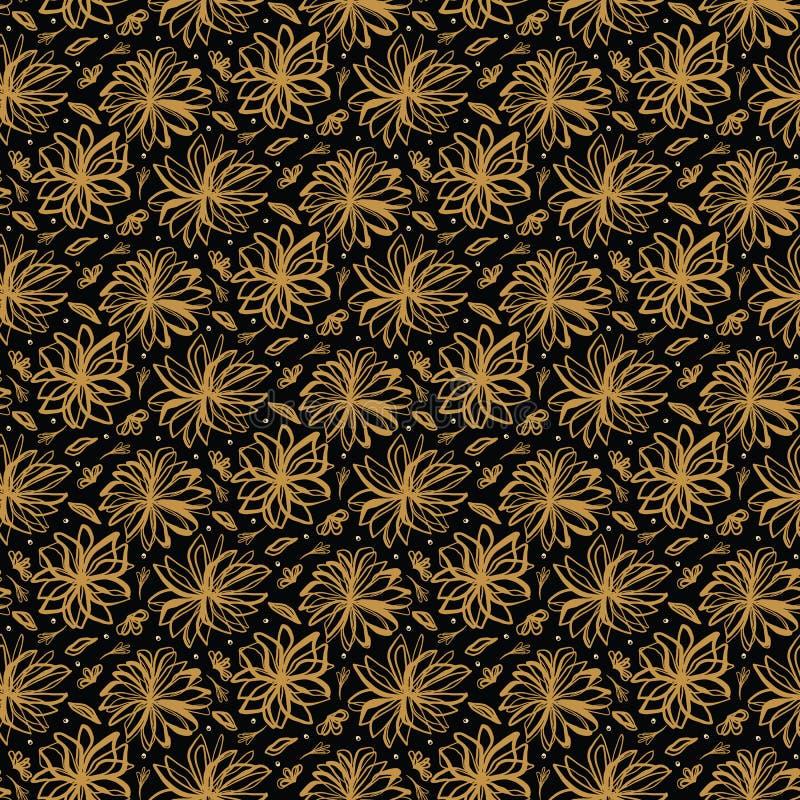 Teste padrão lanç floral tirado mão Fundo sem emenda do vetor Ilustração estilizado da haste da flor da tinta Casa retro na moda  imagens de stock