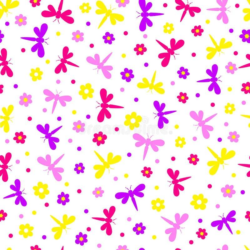 Teste padrão, libélula sem emenda e flor ilustração stock