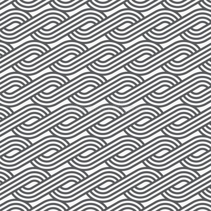 Teste padrão linear do vetor que repete linhas teste padrão da trança dos estilos feito de um quarto linear do círculo ilustração stock