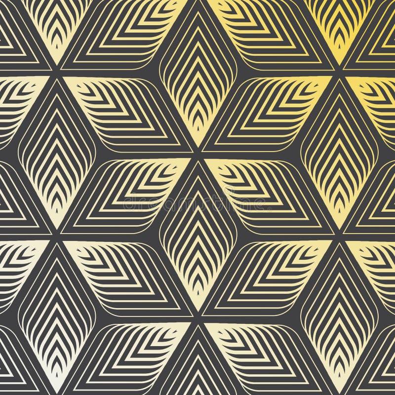 Teste padrão linear do vetor, repetindo o sumário uma folha linear cada um que circunda na forma do hexágono ilustração do vetor