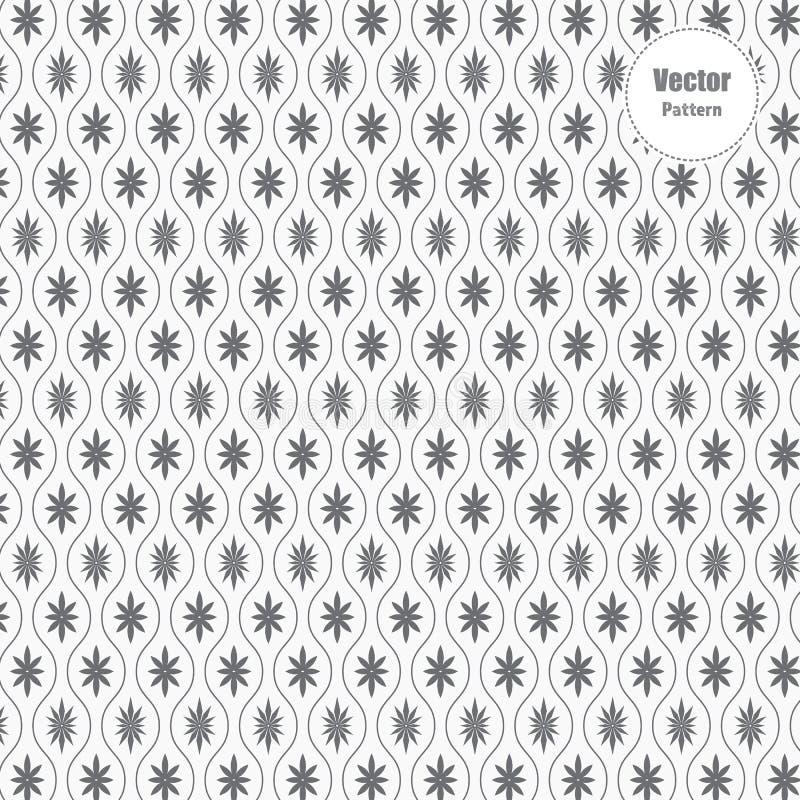 Teste padrão linear, repetindo a linha ondulada da curva com a flor ou a flora abstrata da estrela ilustração royalty free