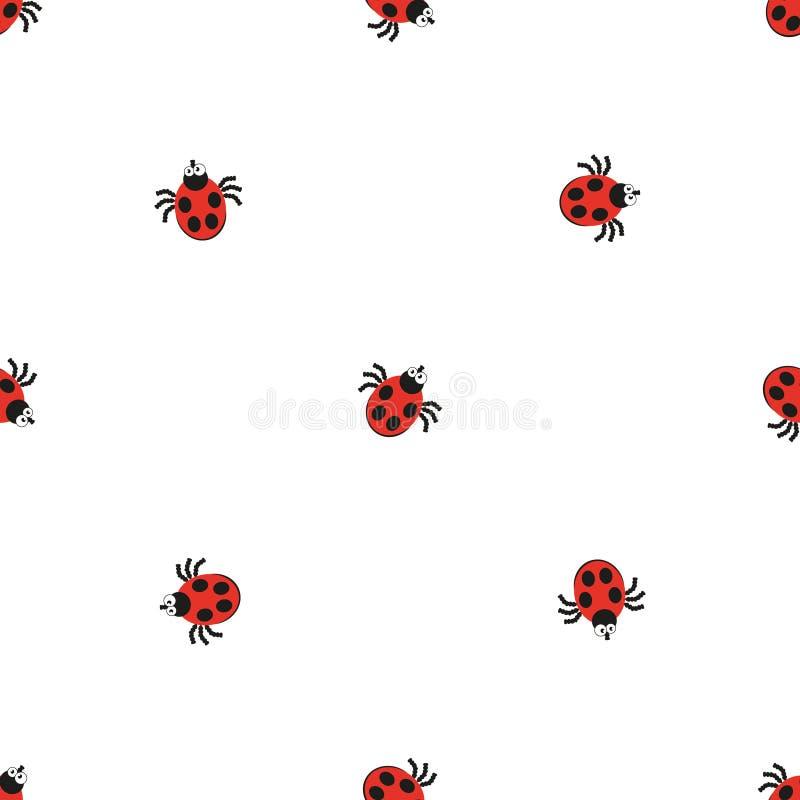 Teste padrão liso do estilo do erro da joaninha Fundo sem emenda da textura do inseto da natureza ilustração royalty free