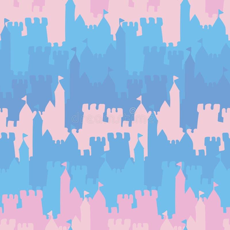 Teste padrão listrado do vetor sem emenda com rosa e os castelos azuis ilustração royalty free