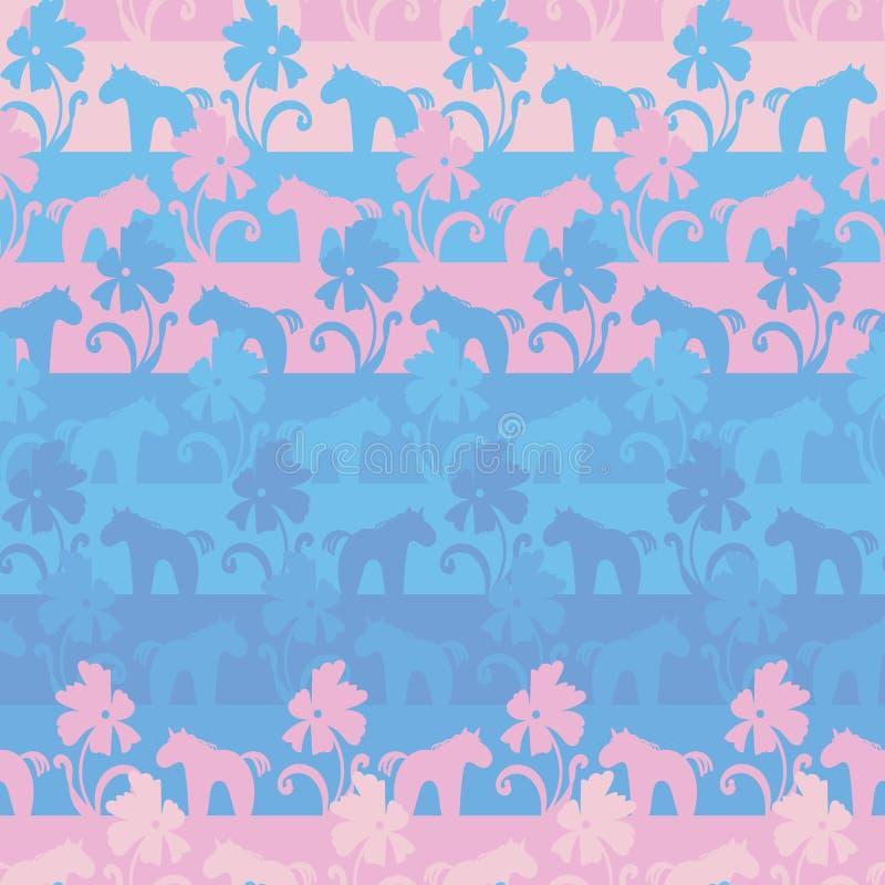 Teste padrão listrado do vetor sem emenda com rosa e unicórnios e flores azuis ilustração do vetor