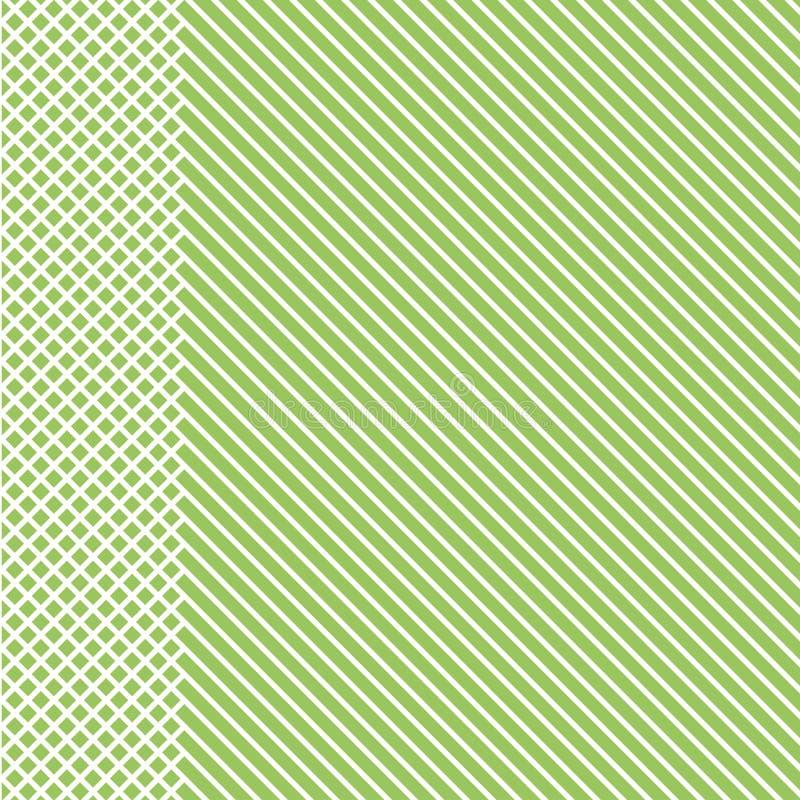 Teste padrão listrado geométrico com linhas contínuas brancas com a inserção quadriculado em claro - fundo verde Vetor ilustração royalty free