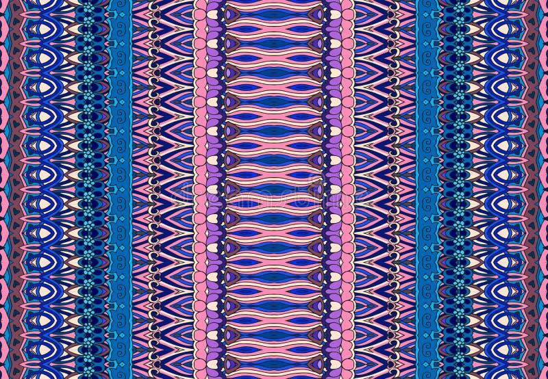 Teste padrão listrado sem emenda abstrato da forma Fundo oriental do vetor em tons azuis e cor-de-rosa ilustração royalty free