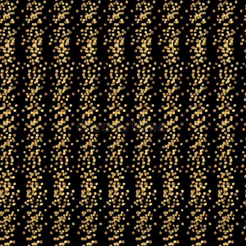 Teste padrão listrado vertical sem emenda de linhas alternas de poeira de ouro e de listras pretas Sparkles brilhantes, pontos do ilustração royalty free