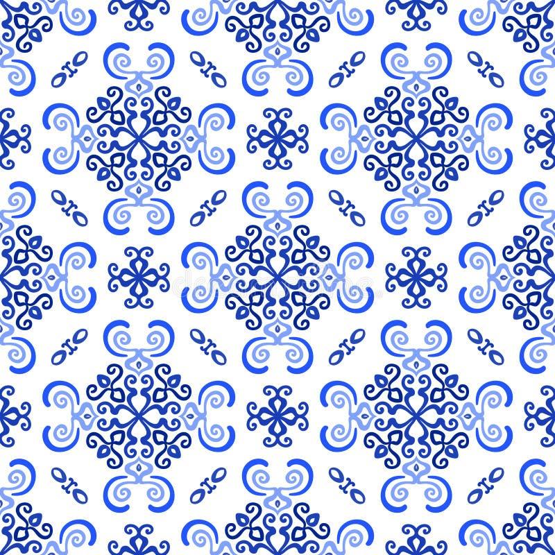 Teste padrão luxuoso do Weave do fundo azul branco ilustração royalty free