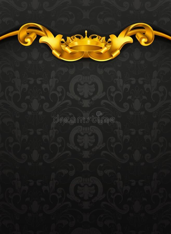 Teste padrão luxuoso, preto ilustração stock