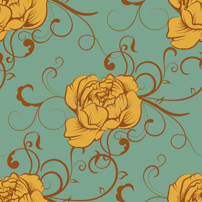 Teste padrão luxuoso sem emenda da peônia da rosa da cor ilustração do vetor