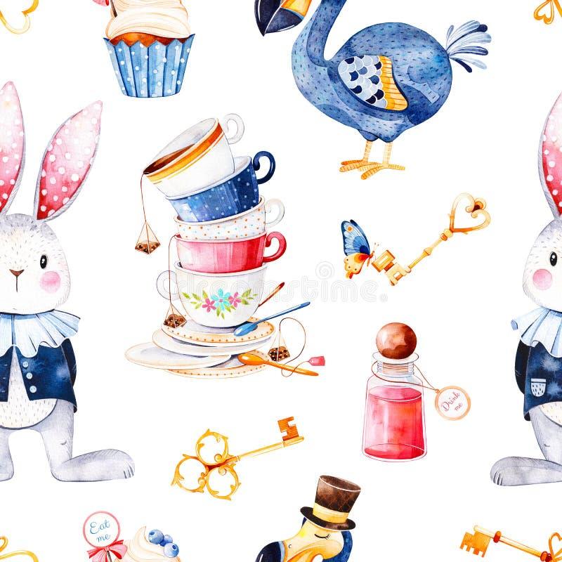 Teste padrão mágico com garrafa, pássaro do dodó, chaves douradas, coelho bonito no casaco azul, queque ilustração do vetor