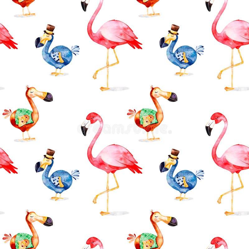 Teste padrão mágico com o flamingo do birdand do dodó da fantasia ilustração do vetor
