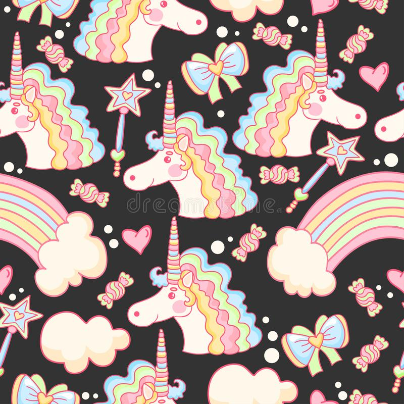 Teste padrão mágico com unicórnio, arco-íris, doces, corações e nuvens ilustração royalty free