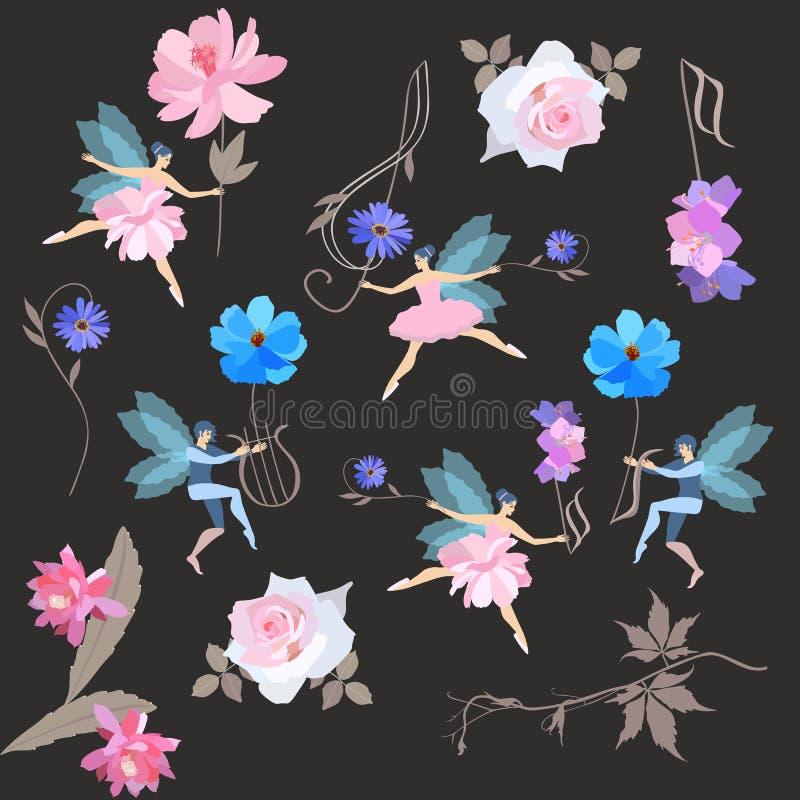 Teste padrão mágico musical infinito As fadas voadas em tutus e em duendes do bailado dançam com as flores, clave de sol e a lira ilustração stock