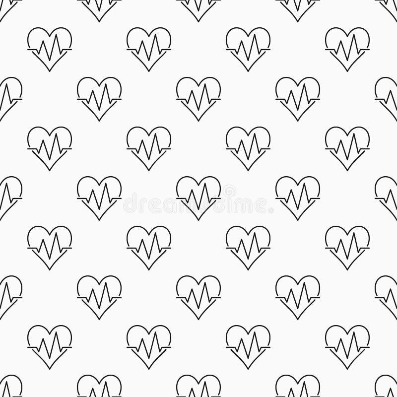 Teste padrão mínimo sem emenda do vetor do pulso do coração ilustração royalty free