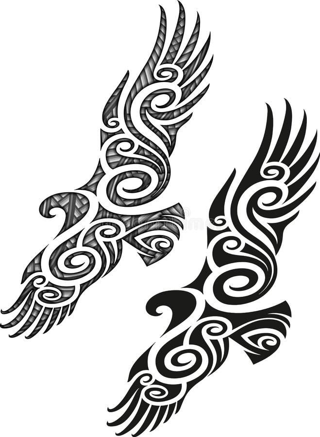 Teste padrão maori da tatuagem - Eagle ilustração do vetor