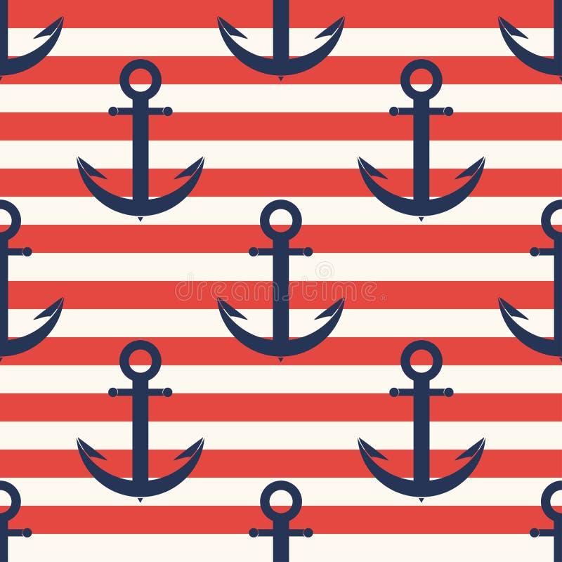 Teste padrão marinho Âncora, teste padrão sem emenda da marinha com listras ilustração stock