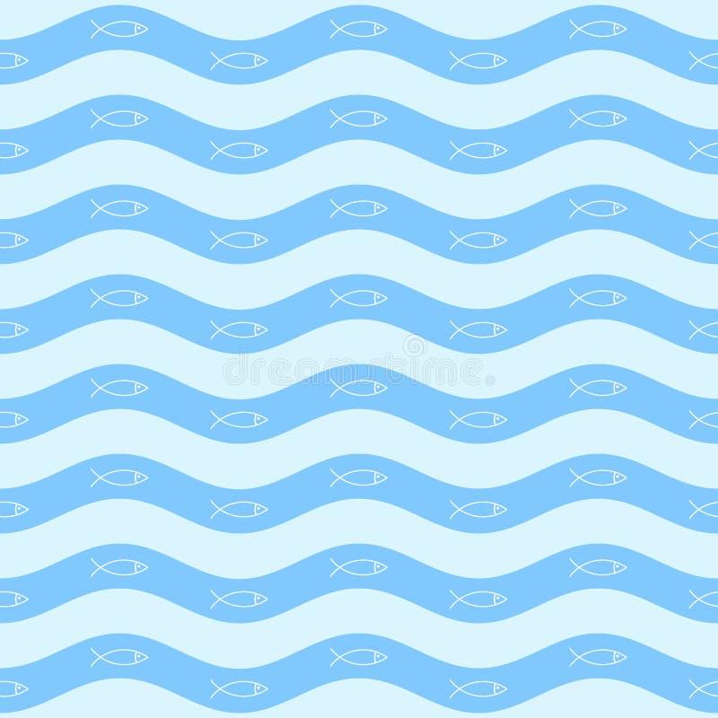 Teste padrão marinho do vetor minimalistic simples geométrico, peixes ilustração do vetor
