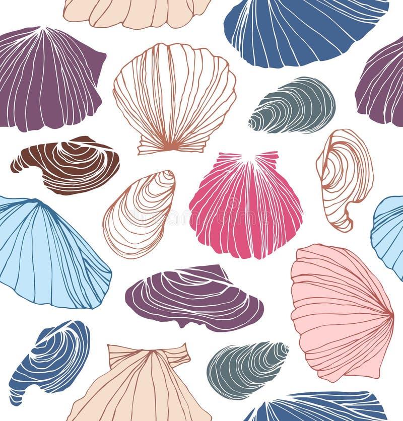 Teste padrão marinho sem emenda com shell Fundo gráfico bonito com conchas do mar ilustração stock
