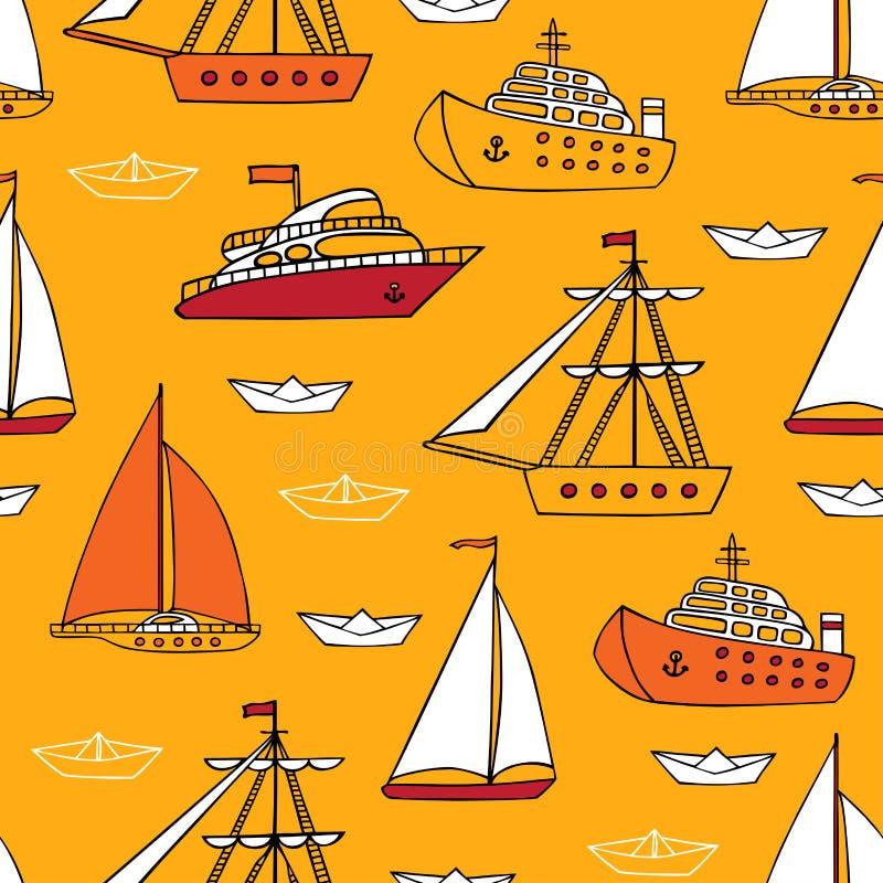 Teste padrão marinho sem emenda do vetor ilustração royalty free