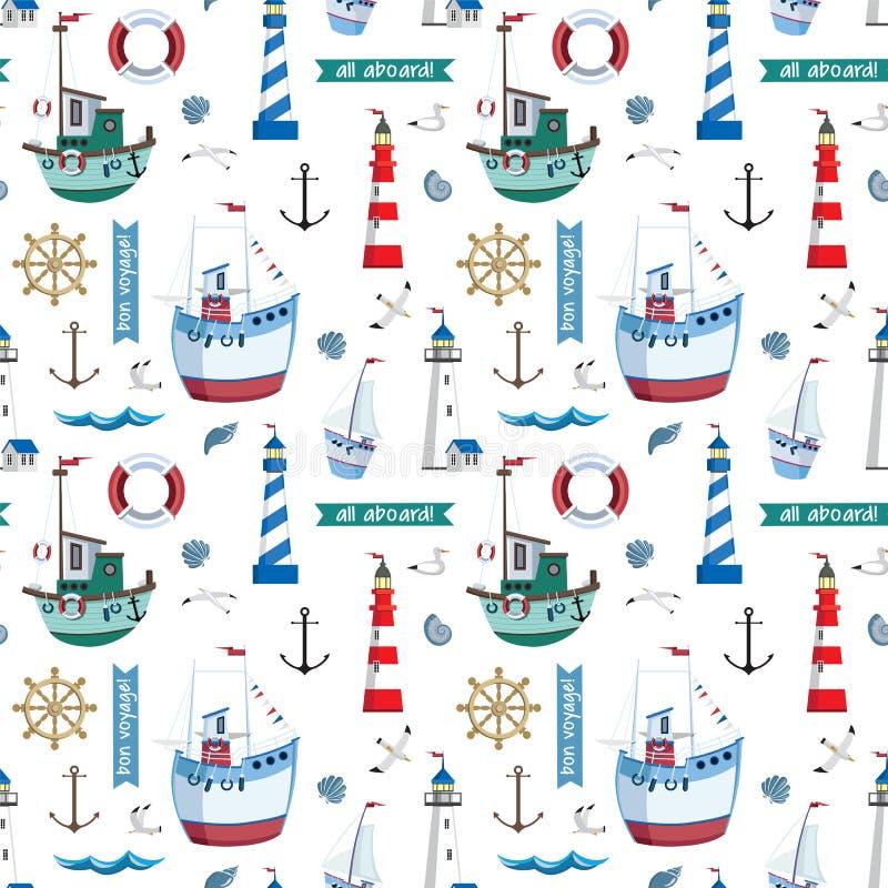 Teste padrão marinho sem emenda do vetor com faróis, navios, gaivota, âncora, escudos no fundo branco ilustração do vetor