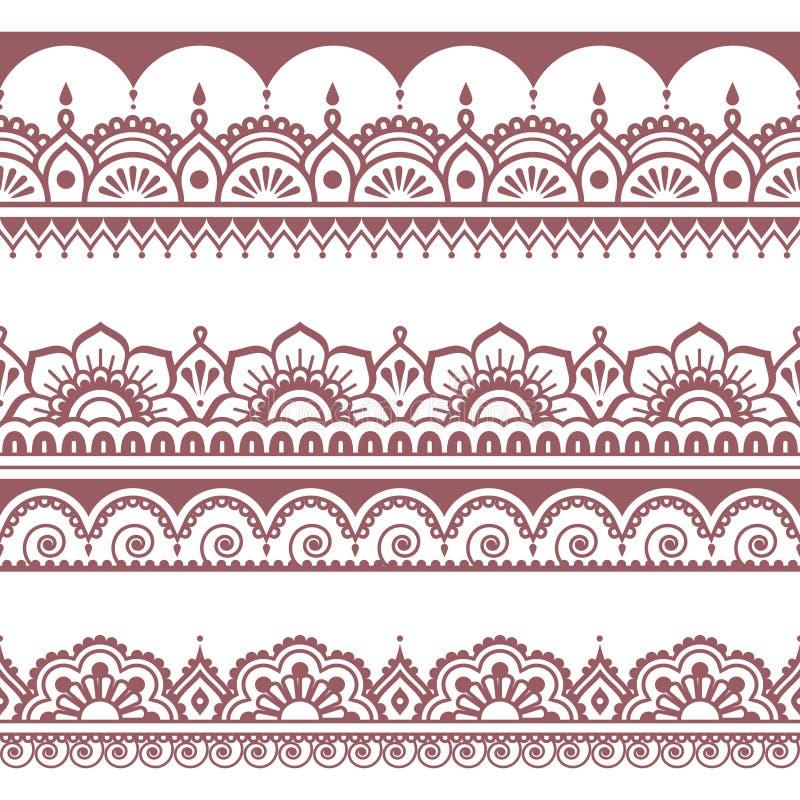 Teste padrão marrom sem emenda indiano, elementos do projeto - estilo da tatuagem de Mehndi ilustração stock