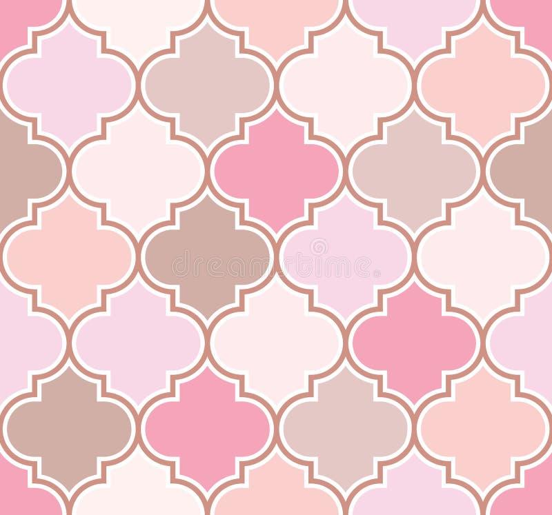 Teste padrão marroquino clássico elegante da treliça em máscaras cor-de-rosa e bege Fundo sem emenda do vetor ilustração do vetor