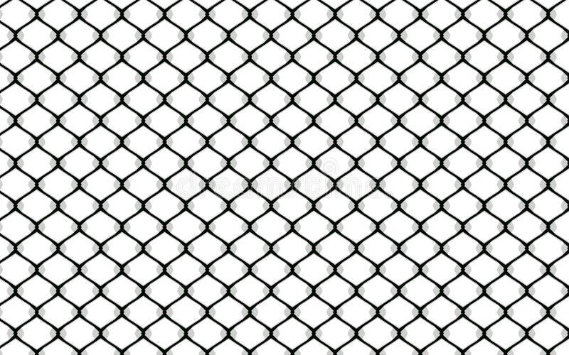 Teste padrão metálico da cerca prendida no fundo branco ilustração do vetor