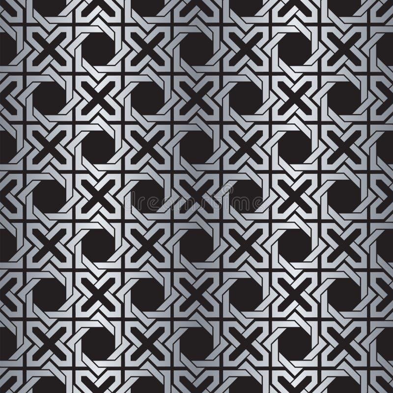 Teste padrão metálico de prata abstrato sem emenda do fundo do Weave ilustração do vetor