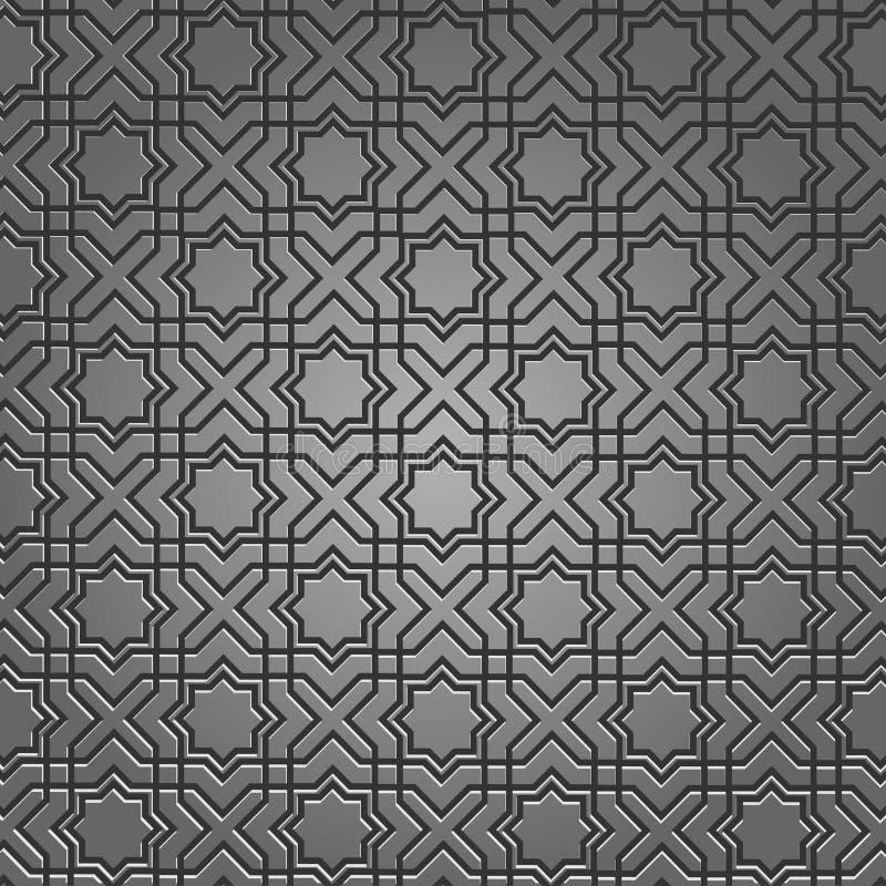 Teste padrão metálico no motivo islâmico ilustração stock