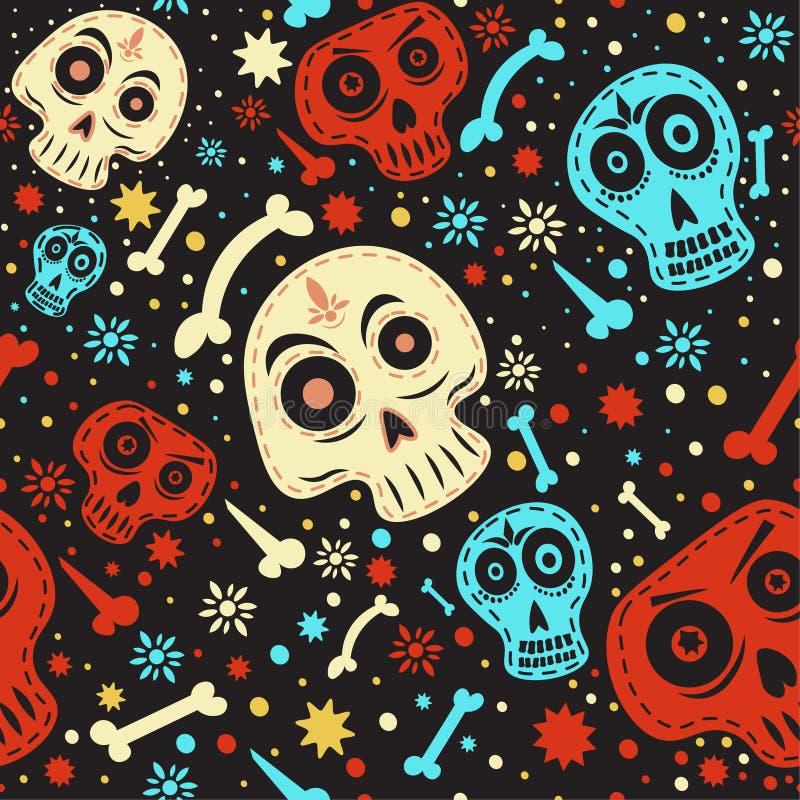 Teste padrão mexicano do crânio Dia do colorido inoperante ilustração stock