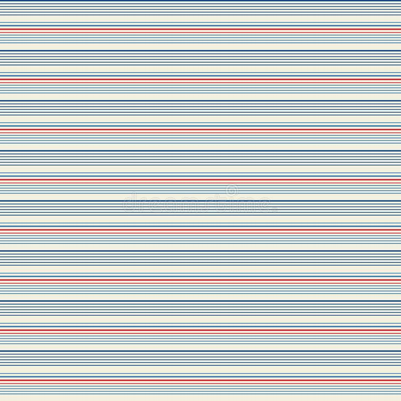 Teste padrão minúsculo fino sem emenda do vintage da listra com as listras paralelas horizontais coloridas no fundo da marinha, d ilustração do vetor