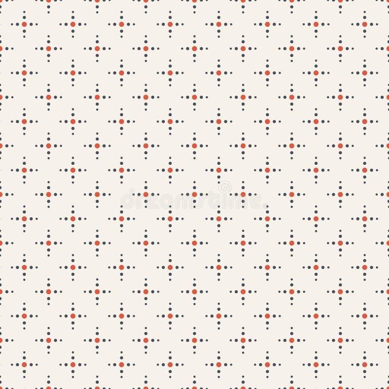 Teste padrão minimalistic sem emenda do vetor abstrato Regularmente repetindo as cruzes feitas dos pontos ilustração do vetor