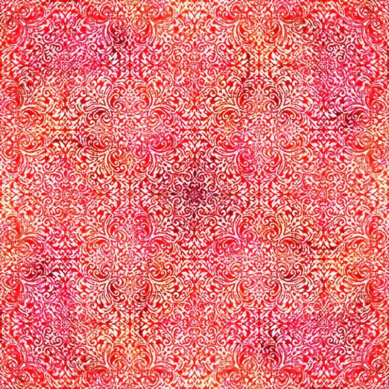 Teste padrão moderno da repetição da textura do batik da tintura do laço ilustração do vetor
