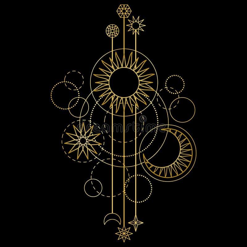 Teste padrão moderno do ouro Sun, da lua e da estrela ilustração royalty free