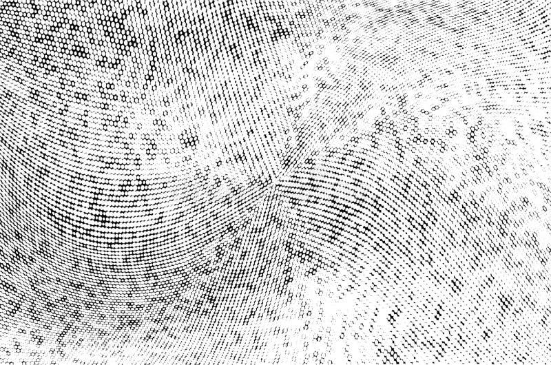 Teste padrão monocromático abstrato da reticulação do grunge Linhas dinâmicas macias Ilustração do vetor da reticulação com ponto ilustração do vetor