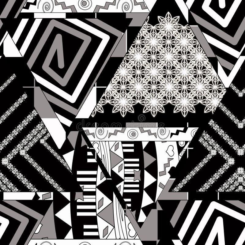 Teste padrão monocromático abstrato sem emenda retalhos preto e branco ilustração royalty free