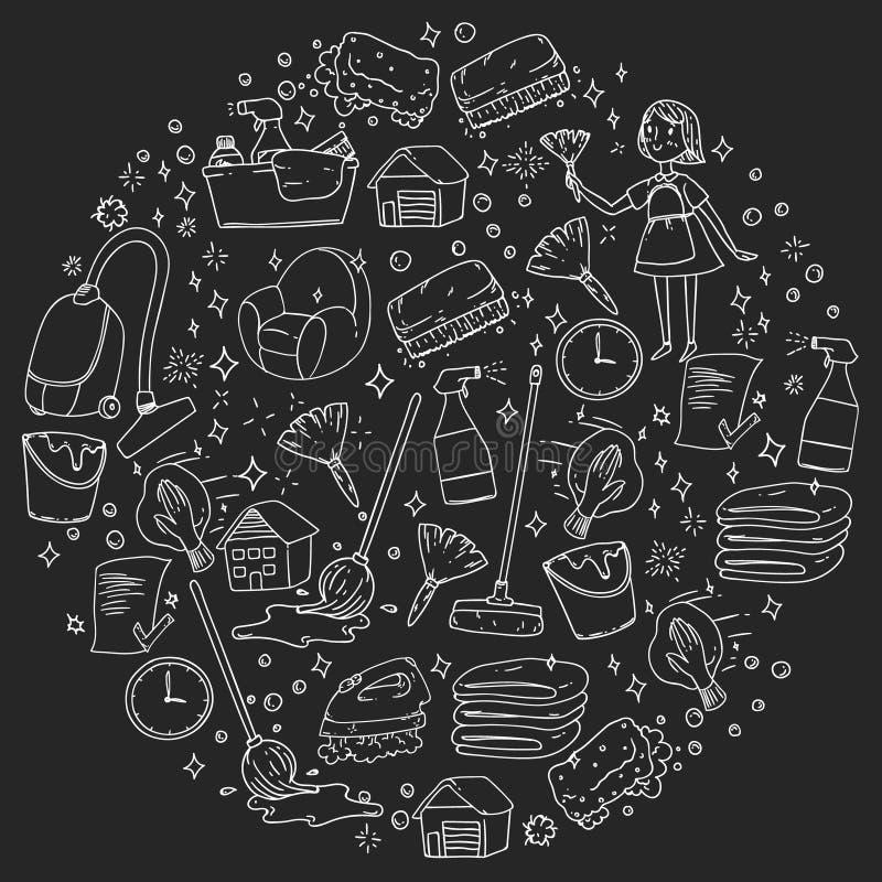 Teste padrão monocromático de limpeza do vetor da empresa de serviços no fundo preto, giz de tiragem ilustração stock