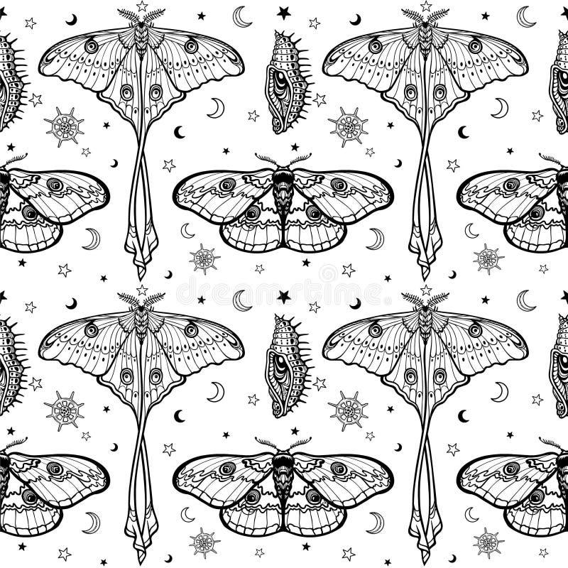 Teste padrão monocromático sem emenda: Borboletas tropicais, larvas, símbolos da lua ilustração do vetor