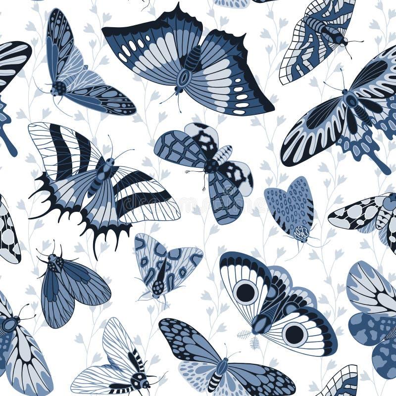 Teste padrão monocromático sem emenda com borboletas azuis ilustração do vetor