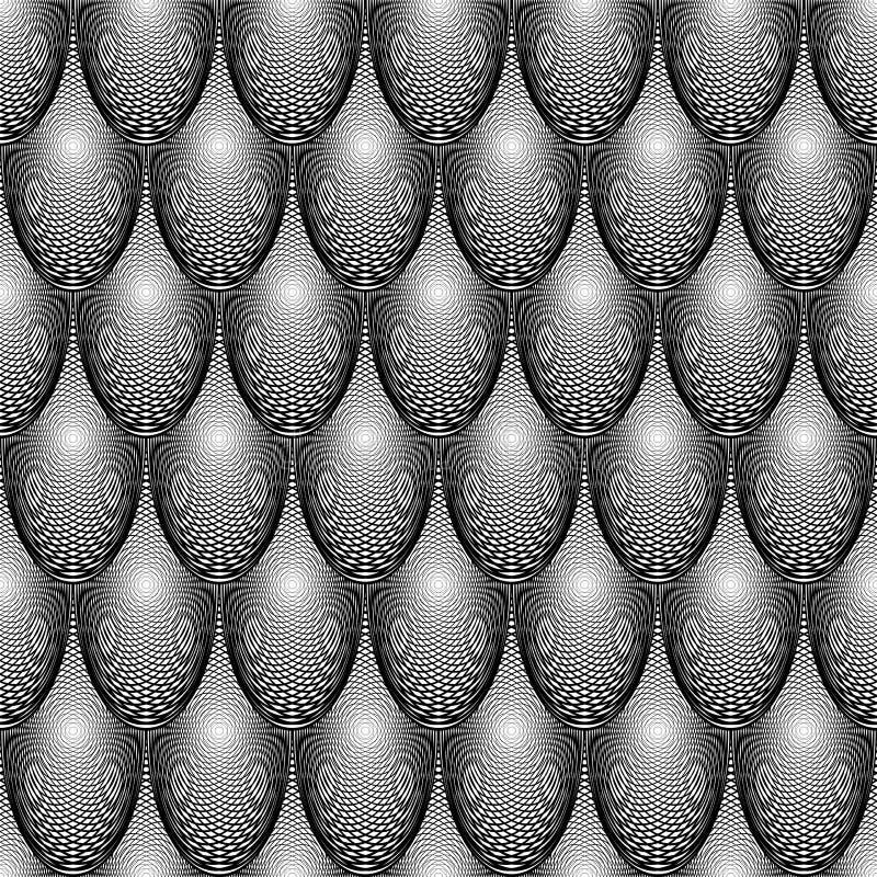 Teste padrão monocromático sem emenda da elipse do projeto ilustração do vetor